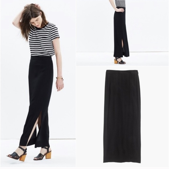 Madewell Dresses & Skirts - Madewell black maxi skirt with side slits